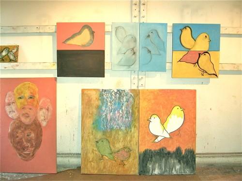 Wall of birds -- Basil King studio, spring 2014